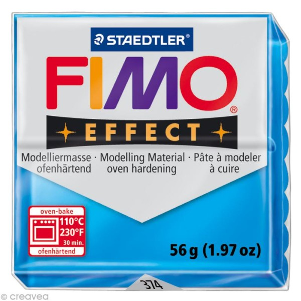 Pâte Fimo Effect Bleu Translucide 374 - 56 gr - Photo n°1