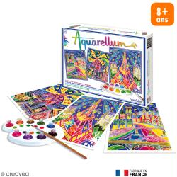 Coffret Tableau à peindre Aquarellum - Paris by Night x 3