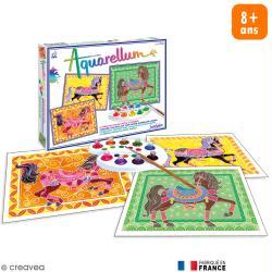 Coffret Tableau à peindre Aquarellum - Chevaux en parade x 3