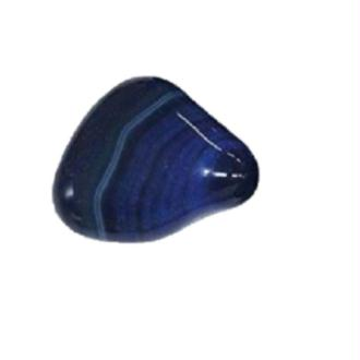 Agate teintée bleue zonée Brésil - Pierre roulée 2 a 6grs