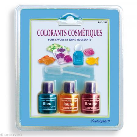 Colorants Cosmétiques Savons et Bains moussants  x 3 - Rose, Bleu, Jaune - Photo n°1