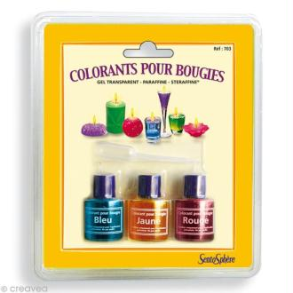 Colorants pour bougies Gel Transparent, Paraffine, Steraffine x 3 - Bleu, Jaune, Rouge