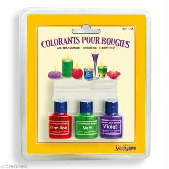 Colorants pour bougies Gel Transparent, Paraffine, Steraffine x 3 - Vert, Violet, Vermillon