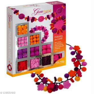 Kit bijoux Parures de laine feutrée Orange / rose