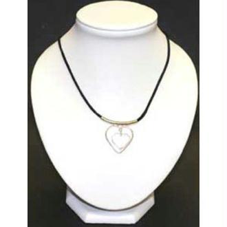 Collier coeur sur cordon Cristal de Roche