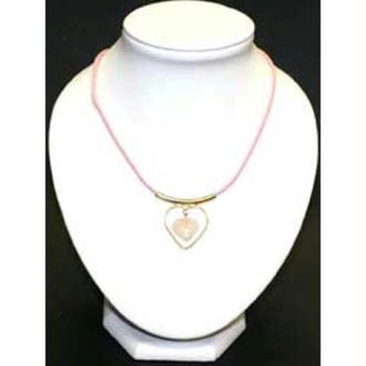 Collier coeur sur cordon quartz rose