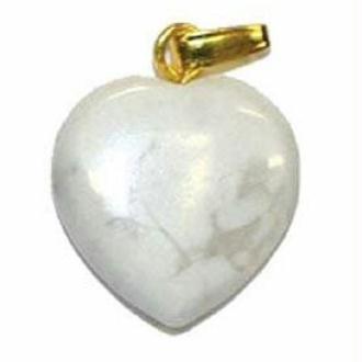 Pendentif Coeur Magnésite (Howlite)