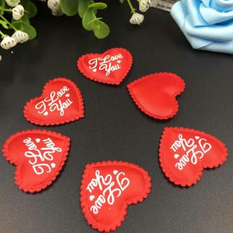 10 Applique Petale Coeur Satin Rouge