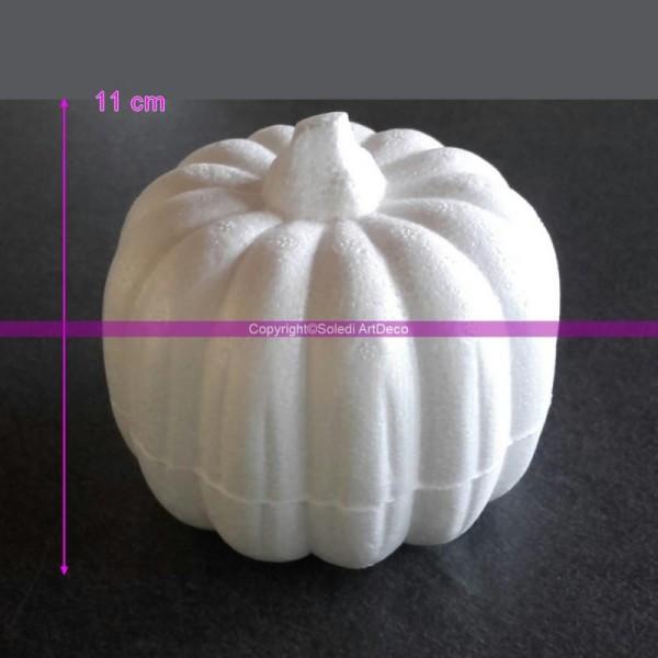 Citrouille en polystyrène blanc de 11 cm, a customiser pour Halloween ou automne - Photo n°1