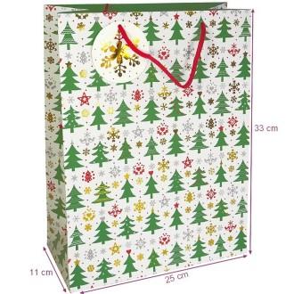 Sachet cadeau cartonné motif Sapins de Noël, 33 x 25 x 11 cm, emballage cadeau de Noël