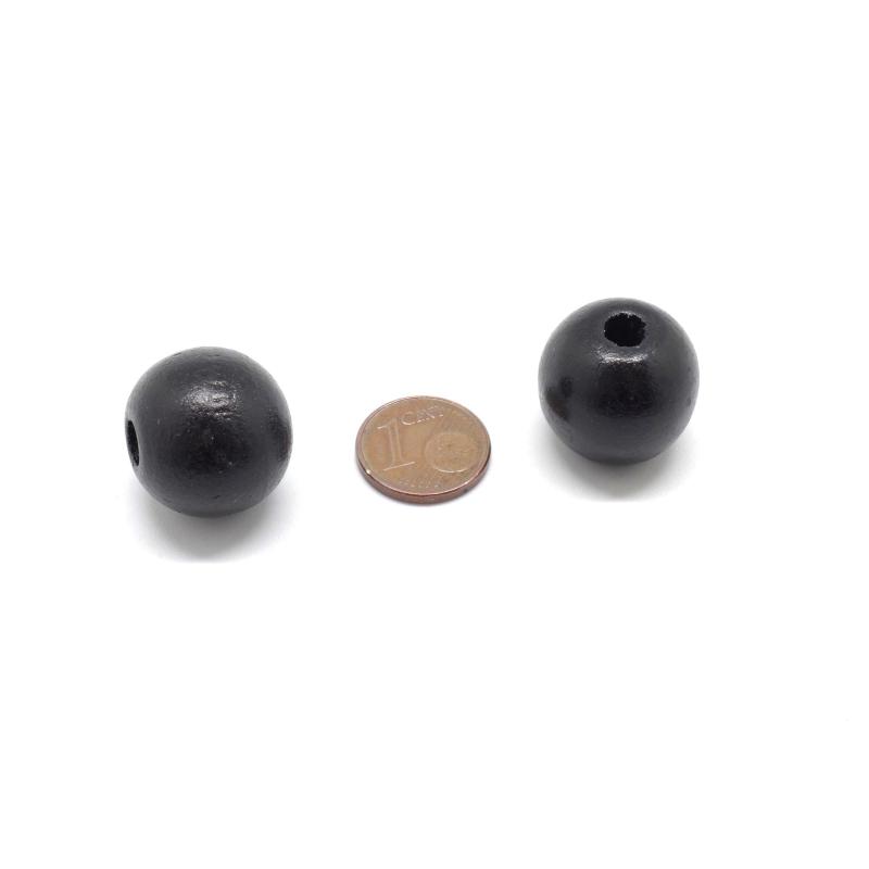 10 grosses perles en bois peinte ronde 20mm noir gros. Black Bedroom Furniture Sets. Home Design Ideas