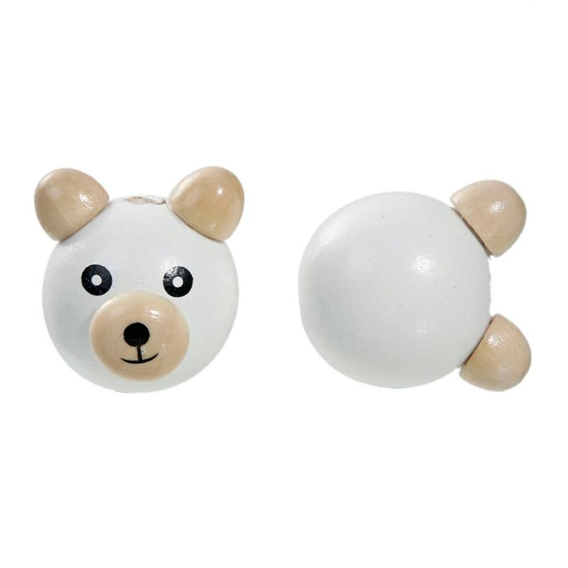 Perle 3d ourson blanc 25mm tete ours creation attache tetine perle ours 2 5cm perles bois - Perle attache tetine ...