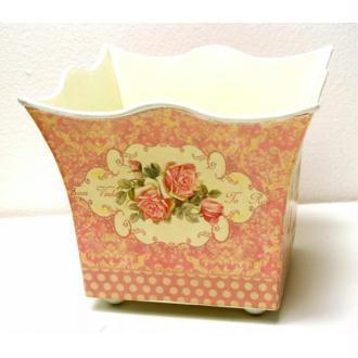 Cache pot carré plastique rigide médaillon rose GM