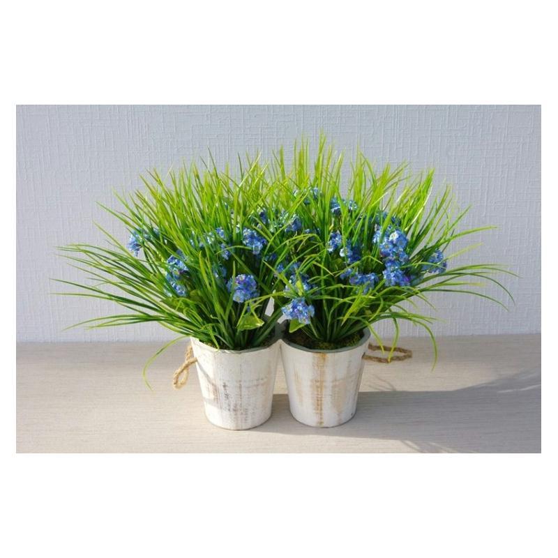 jardini re fleurs artificielles bleues plantes fleuries artificielles creavea. Black Bedroom Furniture Sets. Home Design Ideas