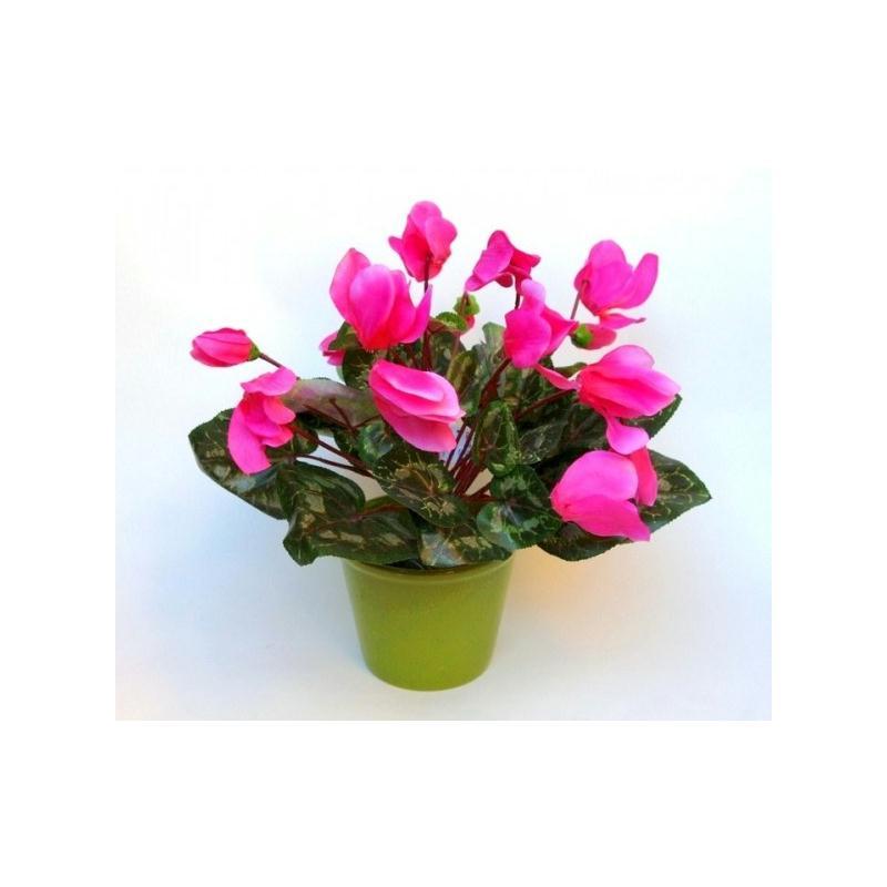 cyclamen 14 fleurs artificielles rose fleurs artificielles cimeti re et ext rieures creavea. Black Bedroom Furniture Sets. Home Design Ideas