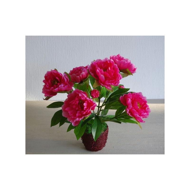 Pivoines artificielles fuschia en pot h40cm plantes for Plantes pour pots exterieur