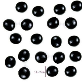 Galet Nuggets de verre Noir Opaque,  plein et lisse, 18 à 20 mm, ép. 8 à 10 mm, 100 g environ 20p