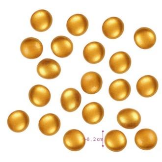 Galet Nuggets de verre Doré Mat,  plein et lisse, 18 à 20 mm, ép. 8 à 10 mm, 100 g environ 20p