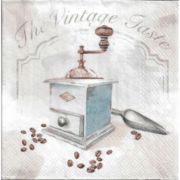 4 Serviettes en papier Moulin à Café Vintage Format Lunch - Photo n°1