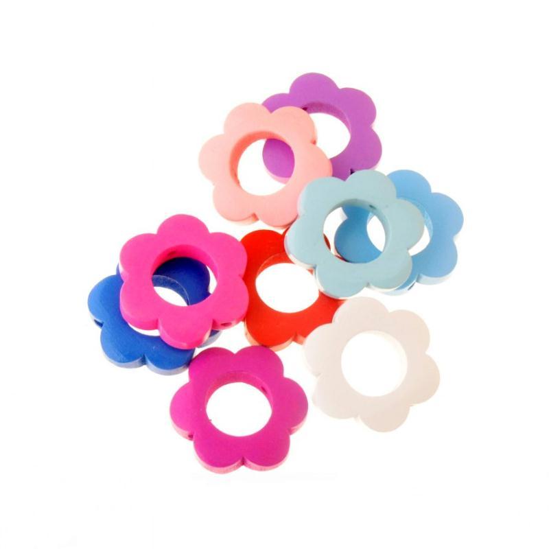 5 perle en bois 30mm fleur mixte 3cm creation attache tetine bijoux perles bois creavea - Perle en bois pour attache tetine ...