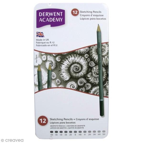 Set Dessin Derwent Academy - Crayons 5H à 6B - 12 pcs - Photo n°1