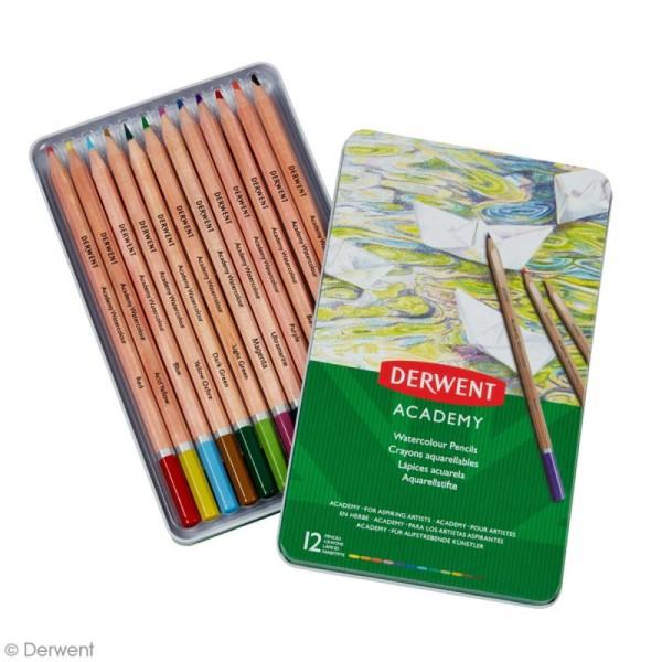 Boîte de crayons de couleur aquarellables - Derwent Academy - 12 pcs - Photo n°2