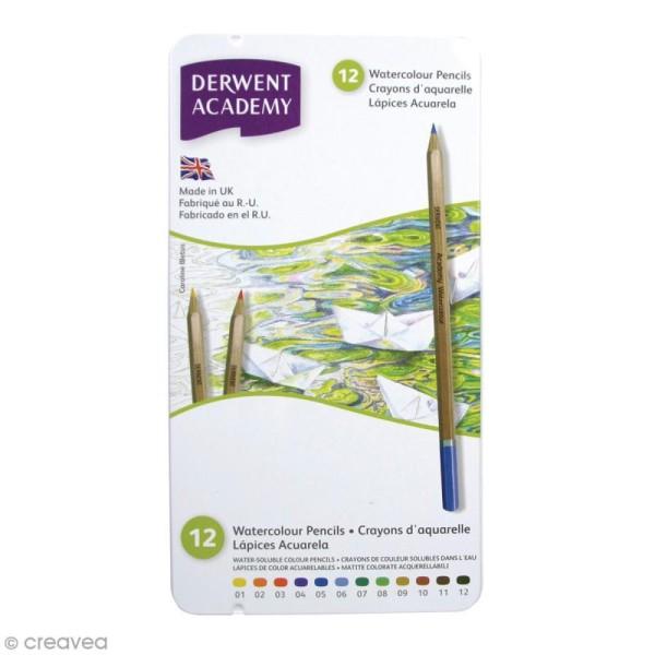 Boîte de crayons de couleur aquarellables - Derwent Academy - 12 pcs - Photo n°1