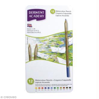 Boîte de crayons de couleur aquarellables - Derwent Academy - 12 pcs
