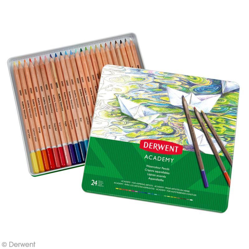 Boîte de crayons de couleur aquarellables - Derwent Academy - 24 pcs - Photo n°2