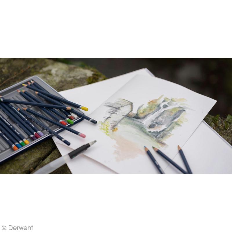 Boîte de crayons de couleur aquarellables - Derwent Academy - 24 pcs - Photo n°3