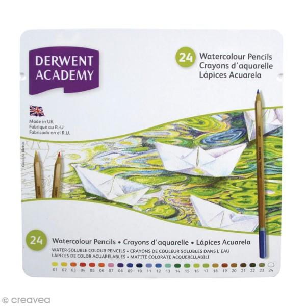 Boîte de crayons de couleur aquarellables - Derwent Academy - 24 pcs - Photo n°1