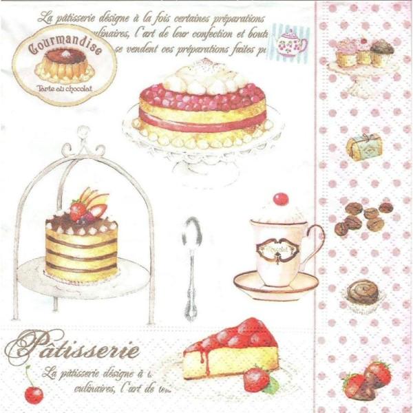 4 Serviettes en papier Pâtisseries Gâteaux Format Lunch - Photo n°1