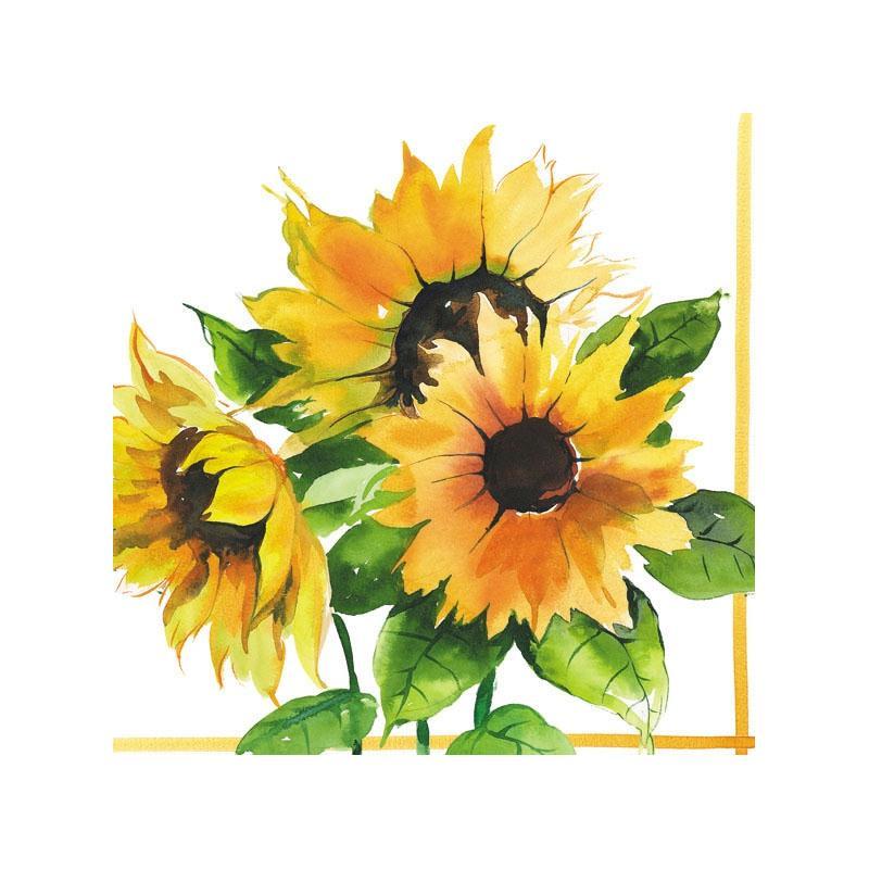 4 serviettes en papier d coupage collage 33 cm tournesol f110 serviette fleurs creavea. Black Bedroom Furniture Sets. Home Design Ideas
