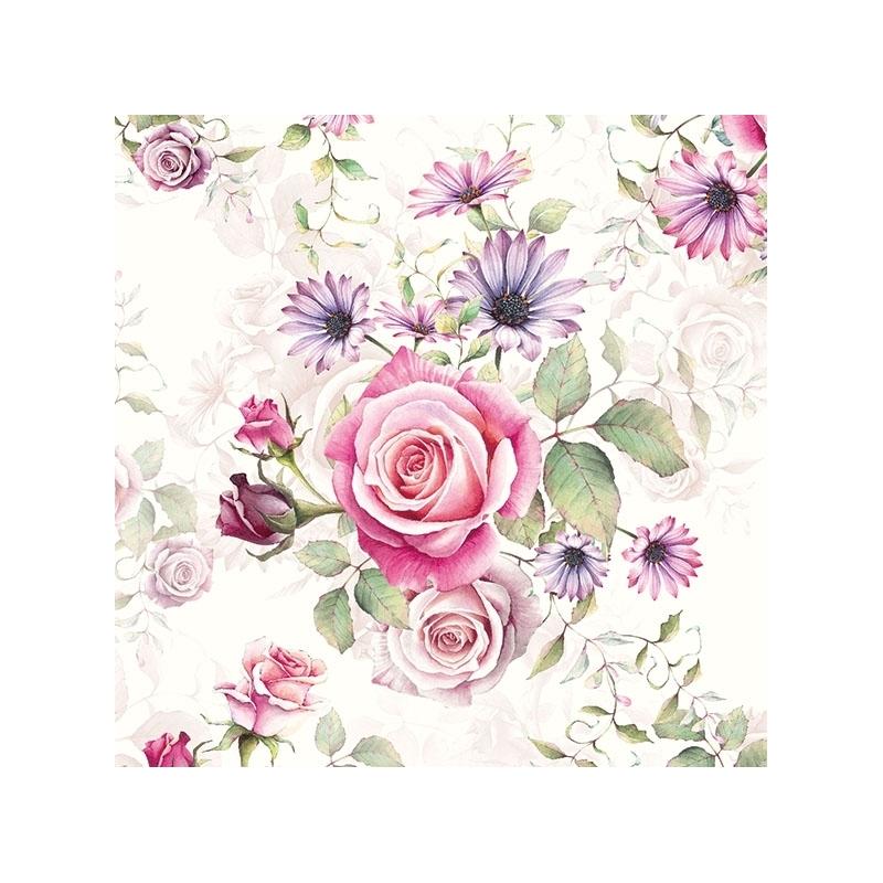 4 serviettes en papier d coupage collage 33 cm rose et fleur f108 serviette fleurs creavea. Black Bedroom Furniture Sets. Home Design Ideas