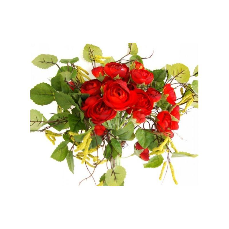 bouquet de fleurs artificielles bouleau et petites renoncules rouges fleurs artificielles haut. Black Bedroom Furniture Sets. Home Design Ideas
