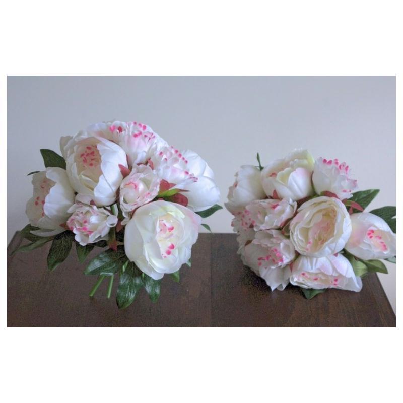 Bouquet artificiel 20cm fleurs blanches 10 pivoines for Plante grimpante artificielle exterieur