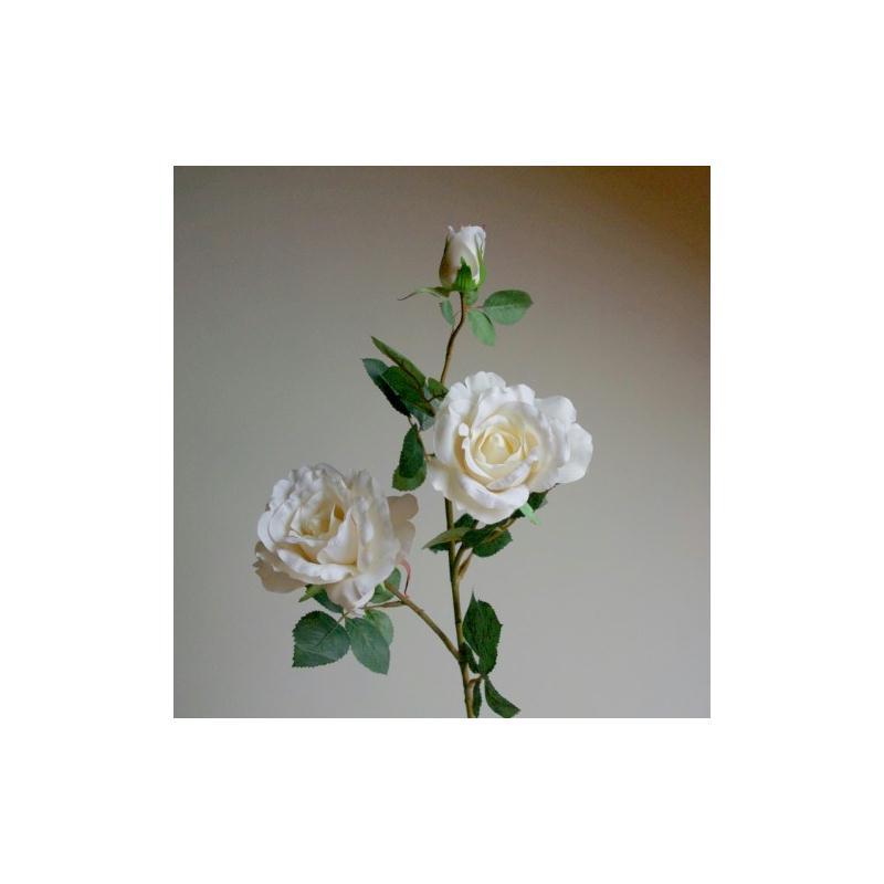 roses artificielles georgia h75cm cr me 2 fleurs 11cm fleurs artificielles haut de gamme. Black Bedroom Furniture Sets. Home Design Ideas