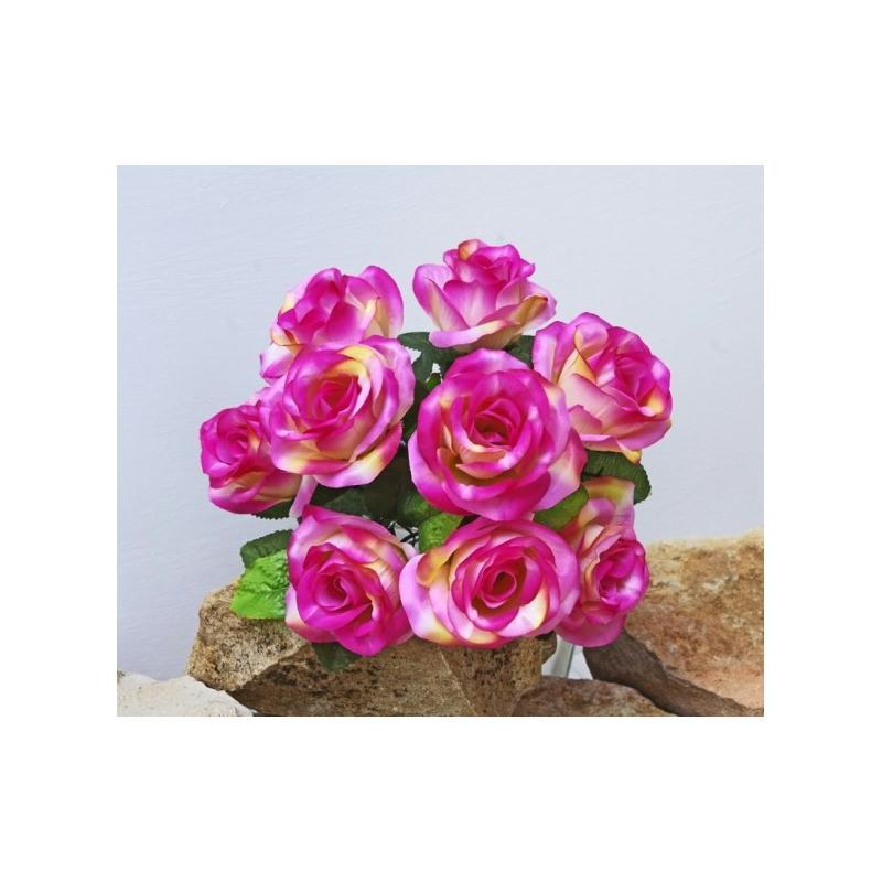 Bouquet h34cm roses artificielles roses en piquet x9 tiges for Roses artificielles
