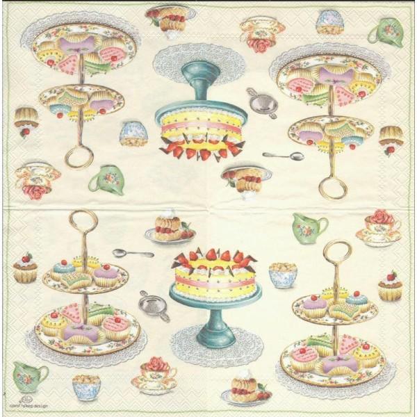 4 Serviettes en papier Pâtisserie Cupcakes Format Cocktail - Photo n°2