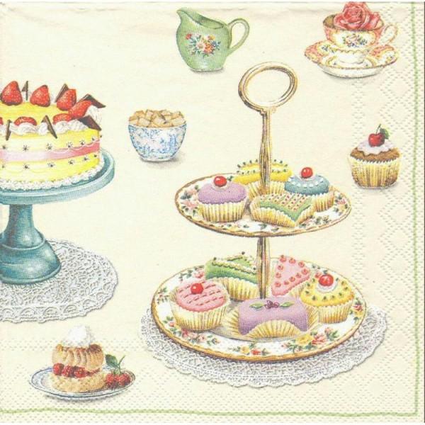 4 Serviettes en papier Pâtisserie Cupcakes Format Cocktail - Photo n°1