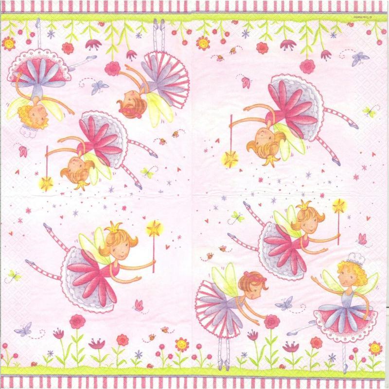 4 serviettes en papier f e du jardin format lunch for Au bout du jardin