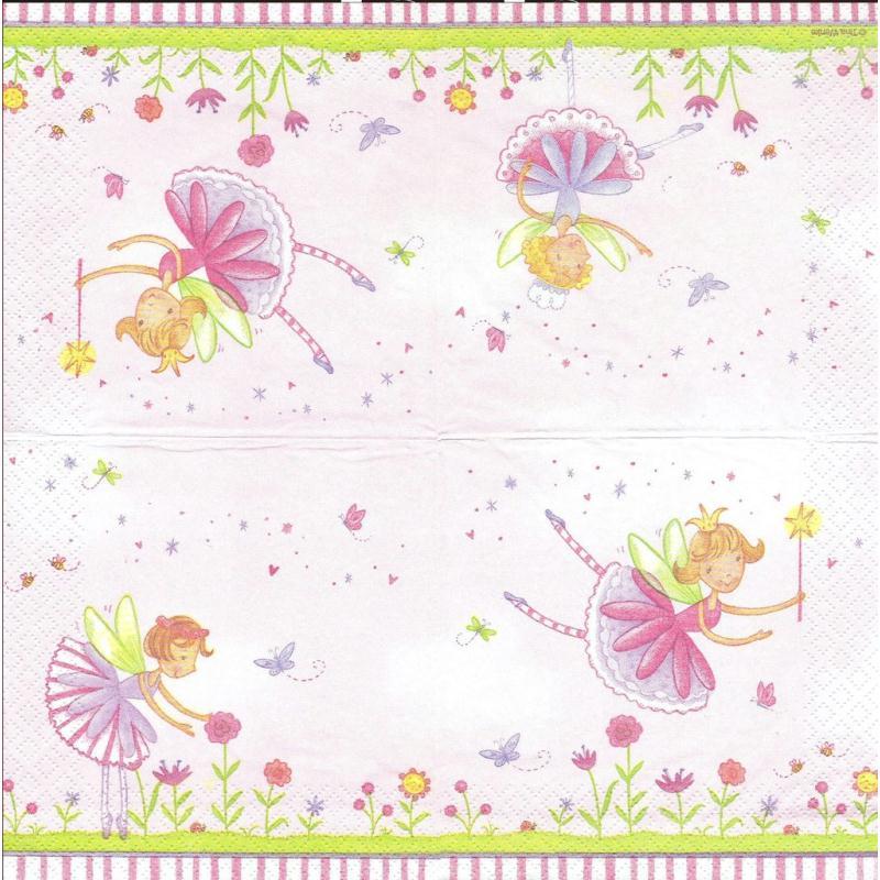 4 serviettes en papier f e du jardin format cocktail for Au bout du jardin