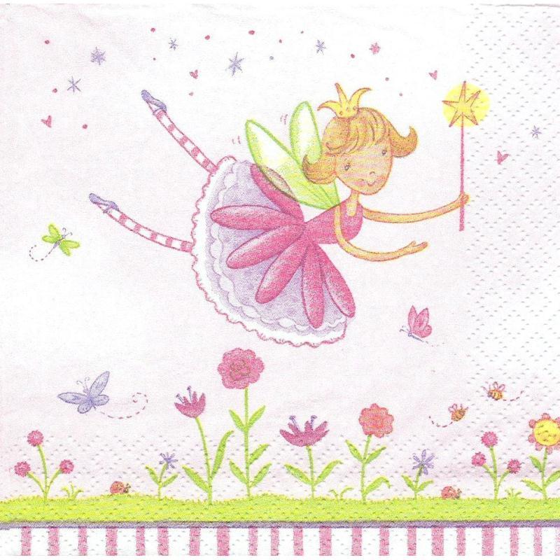 4 serviettes en papier f e du jardin format cocktail for Bd du jardin botanique 50