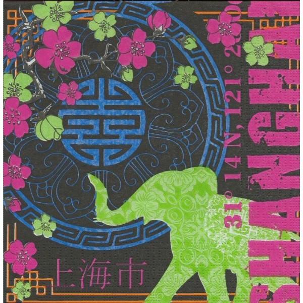 4 Serviettes en papier Shanghai Style éléphant Format Lunch - Photo n°1