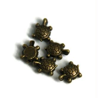 5 Mini Perles Tortue en métal couleur bronze 9x7mm