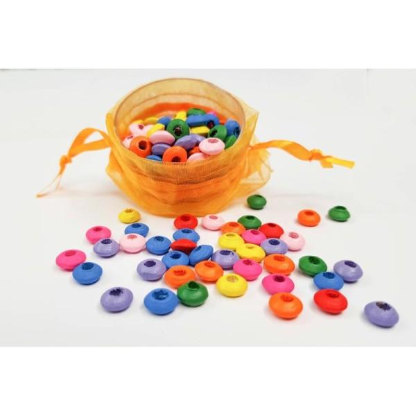 50 Mixte Perles intercalaires en Bois 8mm Perle rondelle 8 x 4mm Creation bijoux