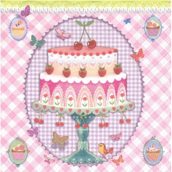 4 Serviettes en papier Rêve de Gâteau Format Lunch Decoupage Decopatch LN0773 Colourful Life - Photo n°1