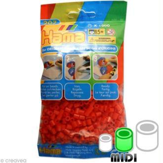 Perles Hama Midi diam. 5 mm - rouge x1000