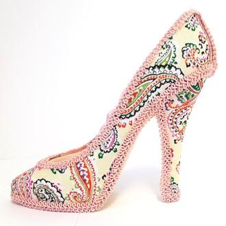 Porte bijoux bagues chaussure escarpin rose Rose