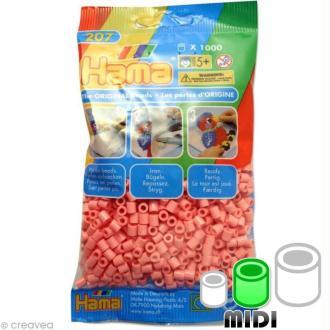 Perles Hama Midi diam. 5 mm - rose clair x1000